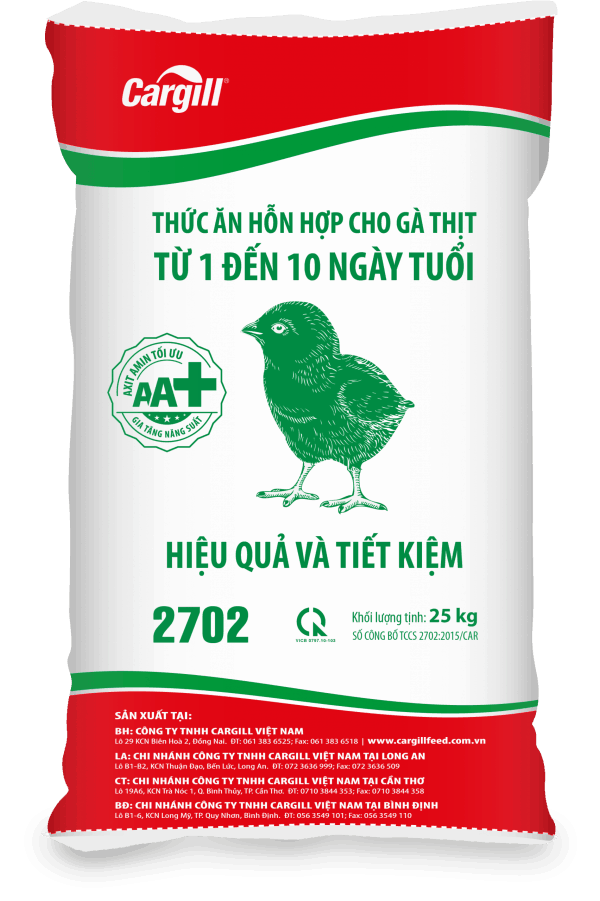 Thức ăn hỗn hợp cho gà thịt 2702 (Từ 1 đến 10 ngày tuổi)