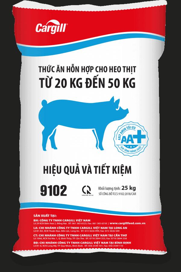 Thức ăn HH cho heo thịt 9102 (Từ 20KG - 50 Kg)